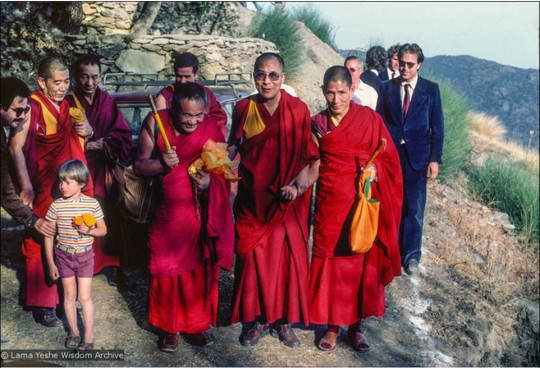 His Holiness the Dalai Lama with Lama Yeshe during His Holiness' visit to O.Sel.Ling Centro de Retiros, Spain, 1982. Photo courtesy of the Lama Yeshe Wisdom Archive.