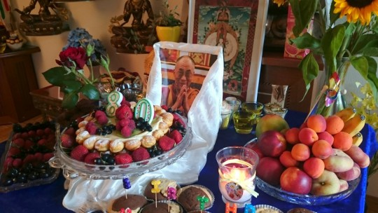 Offerings for His Holiness' birthday at Longku Center, Bern, Switzerland, July 2015