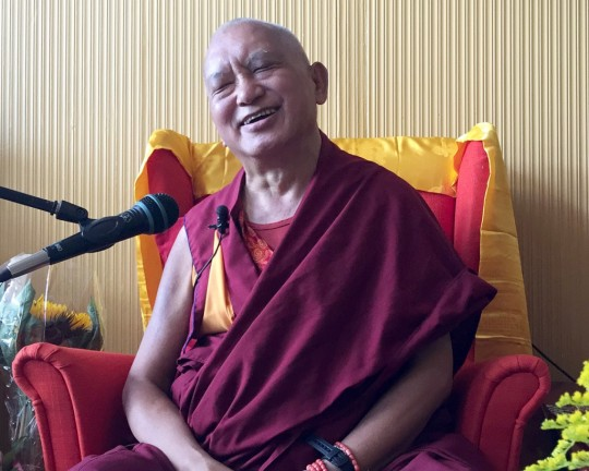 Lama Zopa Rinpoche at Maitreya Institute Loenen, Netherlands, July 2015. Photo by Ven. Thubten Kunsang. Rinpoche is thanking sponsors and telling them how important their support of Dharma is.