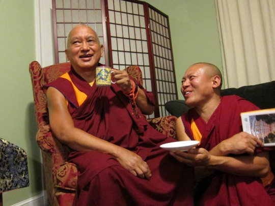 Geshe Tenley with Lama Zopa Rinpoche at Kurukulla Center, 2012.