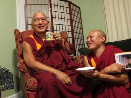 Geshe Tenley with Lama Zopa Rinpoche at Kurukulla Center, 2012.