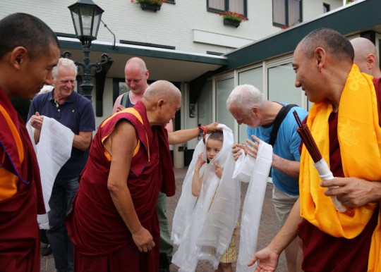 Lama Zopa Rinpoche arriving at Maitreya Instituut, Loenen, Netherlands, July 2015. Photo by Ven. Thubten Kunsang. Maitreya Instituut has recently converted a hotel in Loenen into a very nice Dharma and retreat center.