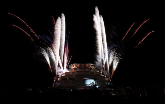 Fireworks during the Great Stupa of Universal Compassion's Festival of Lights, Bendigo, Victoria, Australia, May 30, 2015. Photo by Pic Nhung Tran via JadeBuddhaPeace on Twitter.