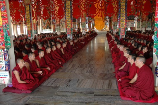 The monks of Sera Je Monastery offering puja.