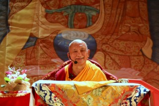 Lama Zopa Rinpoche teaching in Moscow, Russia, July 2015. Photo by Ven. Thubten Kunsang.