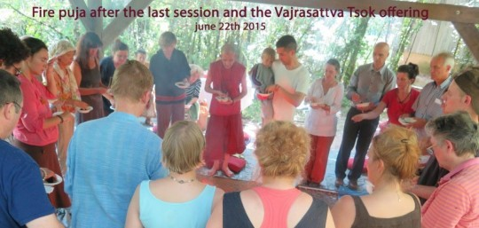 Fire puja after the 108th nyung nä session of Institut Vajra Yogini's fourth annual nyung nä retreat, Marzens, France, June 22, 2015. Photo courtesy of Institut Vajra Yogini.