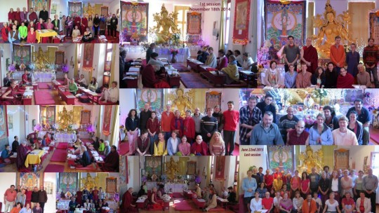 Collage of various nyung nä sessions, Marzens, France, November 2014 - June 2015. Photo courtesy of Institut Vajra Yogini.