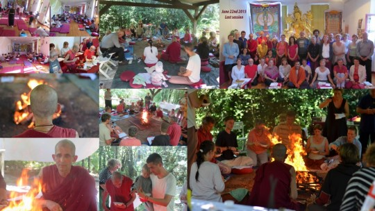 Collage of last nyung nä session, Marzens, France,  June 22, 2015. Photo courtesy of Institut Vajra Yogini.