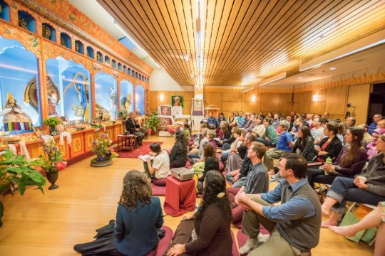 Dr. Thupten Jinpa speaking at Maitripa College in May 2015, the first event of the Mindfulness and Compassion Initiative, Portland, Oregon, USA. Photo courtesy of Maitripa College.