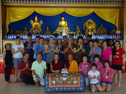 Some participants of the 8th annual Saka Dawa mani retreat held by Rinchen Jansem Ling Retreat Centre, Triang, Malaysaia, June 2015. Photo courtesy of Rinchen Jansem Ling Retreat Centre.