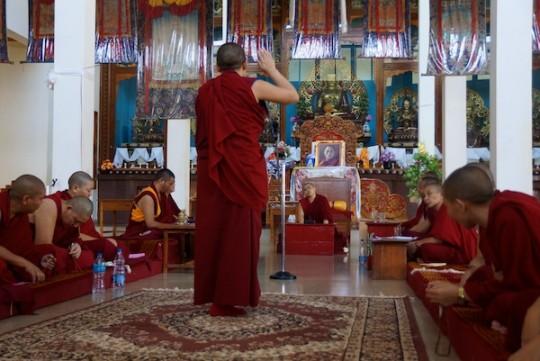 The geshe-ma examinations include debate, Jangchub Choeling Nunnery, Mundgod, India, May 2015. Photo via Tibetan Nuns Project (tnp.org).