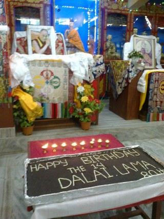 Cake in celebration of His Holiness the Dalai Lama's 80th birthday, Root Institute, Bodhgaya, India, July 2015. Photo courtesy of Root Institute.