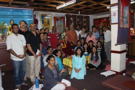 Choe Khor Sum Ling students with Geshe Dorji Damdul, Bangalore, India, July 2015. Photo courtesy of Choe Khor Sum Ling.