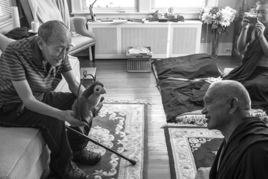 Khyongla Rato Rinpoche with Lama Zopa Rinpoche, New York, August 2015. Photo by Ven. Nicholas Vreeland. Lama Zopa Rinpoche has been receiving oral transmissions from Khyongla Rinpoche at his home in New York.