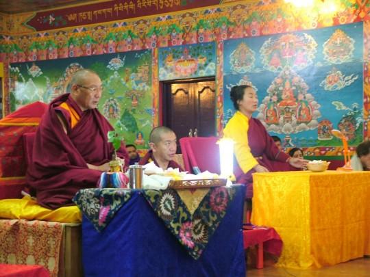 Dagri Rinpoche and Khadro-la consecrating new statues, Tushita Meditation Centre, Dharamsala, India, February 2015. Photo courtesy of Tushita Meditation Centre.