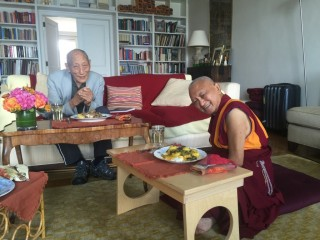 Lama Zopa Rinpoche with Khyongla Rato Rinpoche, New York, USA, July 2015. Lama Zopa Rinpoche has been receiving oral transmissions from Khyongla Rinpoche.  Photo by Ven. Roger Kunsang.
