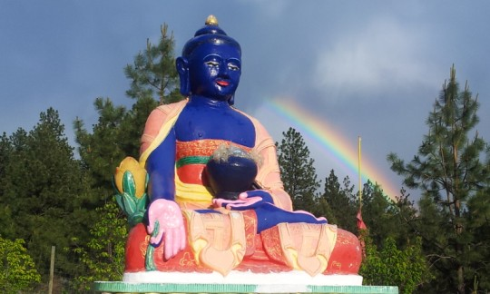 Medicine Buddha statue at Buddha Amitabha Pure Land, Washington, US, May 2015