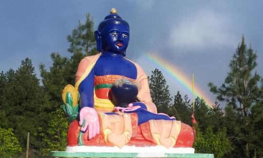 Medicine Buddha statue at Buddha Amitabha Pure Land, Washington, US, May 2015