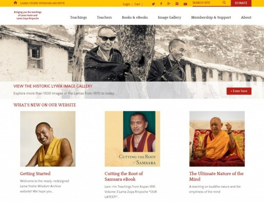 Screen shot of Lama Yeshe Wisdom Archive's redesigned hompage