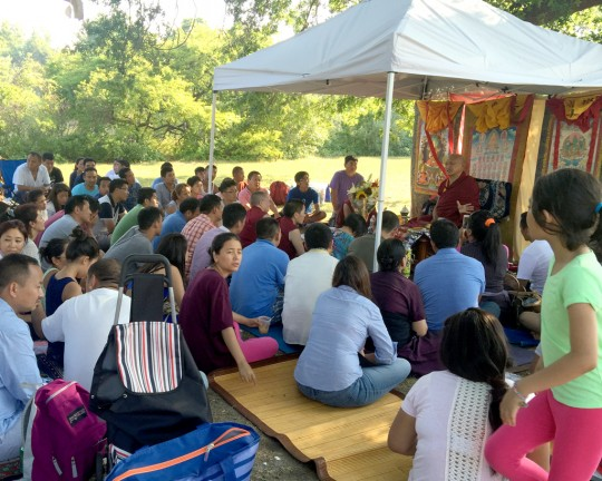 Lama Zopa Rinpoche giving Dharma advice during a picnic of ex-monks and nuns from Kopan and other members of the Sherpa and Tibetan community, Long Island, NY, August 2015. Photo by Ven. Roger Kunsang.