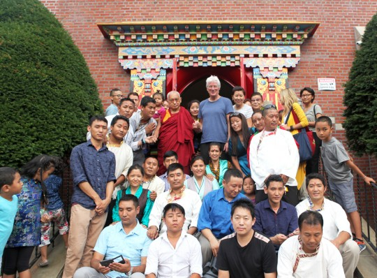 Lama Zopa Rinpoche with Richard Gere and members of New York's Sherpa community after long life initiation, Queens, NY, August 30, 2015. Photo by Ven. Lobsang Sherab.