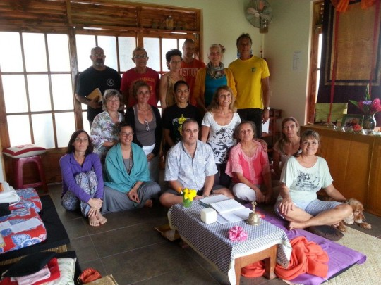 Students of Centre de Méditation Naropa with teacher Sixte Vinçotte, Tahiti, July 2015. Photo courtesy of Annie Green.