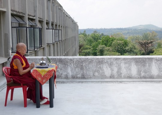 Lama Zopa Rinpoche doing an incense puja for those who are sick on his first day in Mexico, where Rinpoche's is currently leading retreat, Mexico, September 6, 2015. Photo by Ven. Roger Kunsang.