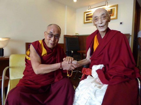 His Holiness the Dalai Lama and His Eminence Choden Rinpoche, New Delhi, India, August 29, 2015