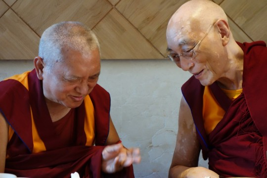 Lama Zopa Rinpoche with Choden Rinpoche in Taiwan, February 2013. Photo by Ven. Roger Kunsang.