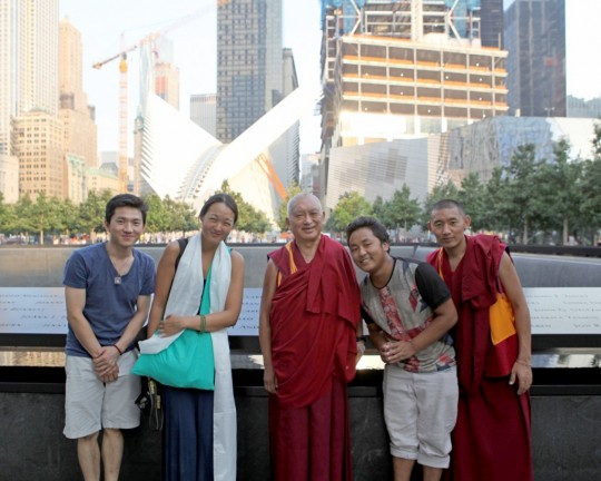 Lama Zopa Rinpoche at the National September 11 Memorial in New York City before doing prayers for all those who died during the World Trade Center attacks in 2001, New York, US, September 2015. Photo by Ven. Lobsang Sherab.