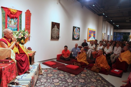 Lama Zopa Rinpoche teaching at Tibet House, New York, US, August 2015. Photo by Ven. Lobsang Sherab.