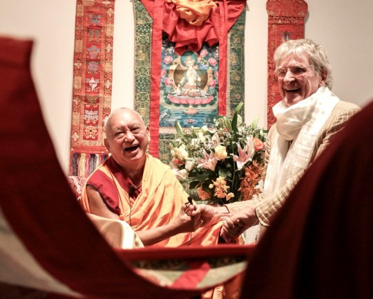 Lama Zopa Rinpoche with Prof. Robert Thurman viewing a Green Tara tangkha offered by Shantideva Meditation Center to Tibet House, New York, August 2015. Photo by Edward Sczudlo.