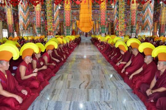 The monks of Sera Je Monastery. Sera Je Monastery has 14 distinct khangtsens where all monks live.