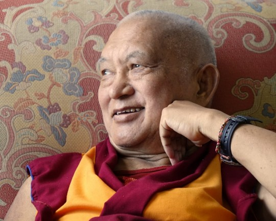 Lama Zopa Rinpoche at ease in New York City, US, September 2015. Photo by Ven. Roger Kunsang.