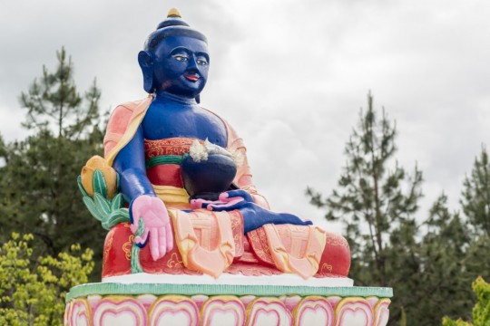 Medicine Buddha statue at Buddha Amitabha Pure Land, Washington, US, May 2015.
