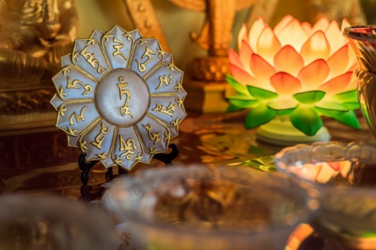 Beautiful offerings to holy objects at Buddha Amitabha Pure Land, USA. Photo by Chris Majors.