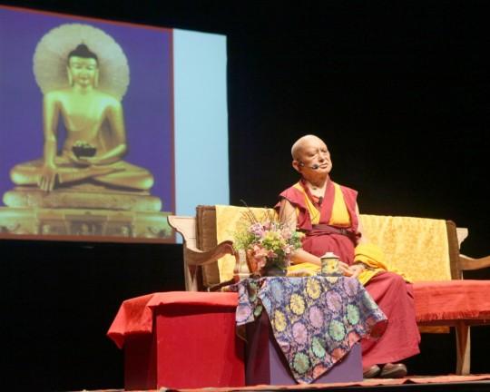 Lama Zopa Rinpoche giving a public teaching organized by Centro Shiwa Lha, Rio de Janeiro, Brazil, September 2015. Photo by Ven. Lobsang Sherab.