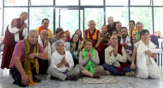 Lama Zopa Rinpoche with the directors and SPCs of the five FPMT centers and four FPMT study groups of Mexico, and also Ven. Paloma Alba from Spain, Guadalajara, Mexico, September 2015. Photo by Ven. Lobsang Sherab.