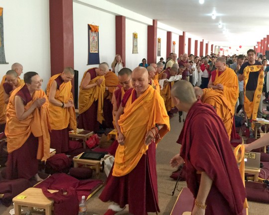 Lama Zopa Rinpoche arriving at the beginning of a teaching session during the lam-rim retreat in Mexico, September 2015. Photo by Ven. Roger Kunsang.