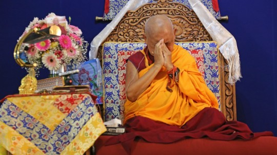 Lama Zopa Rinpoche on the teaching throne during the lam-rim retreat, Guadalajara, Mexico, September 2015. Photo by Ven. Thubten Kunsang.