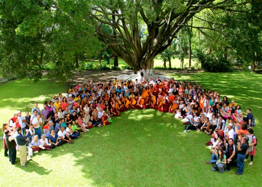 Lama Zopa Rinpoche with participants in the Mexican retreat, Guadalajara, Mexico, September 2015. Photo by Drolkar McCallum.