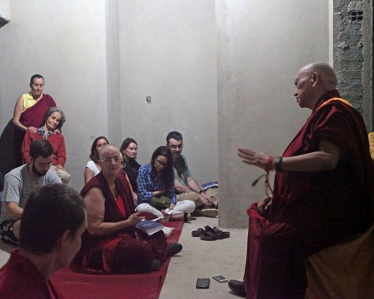 Lama Zopa Rinpoche blessing the building bought by Centro Shiwa Lha to become the center's new home, Rio de Janeiro, Brazil, September 2015. Photo by Ven. Lobsang Sherab.