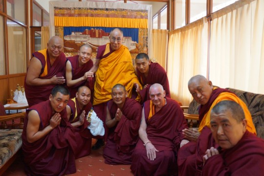 His Holiness the Dalai Lama with Lama Zopa Rinpoche during the 2014 Jangchup Lamrim teaching event, South India. Photo by OHHDL.
