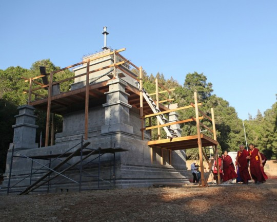 Lama Zopa Rinpoche visiting the stupa being built at Land of Medicine Buddha, California, US, October 2015. Photo by Ven. Lobsang Sherab.