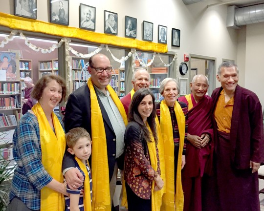 Yangsi Rinpoche, Geshe Tenzin Dorje and the family of Jim Blumenthal in front of Maitripa College's library, Portland, Oregon, US, October 8, 2015. Photos courtesy of Maitripa College.