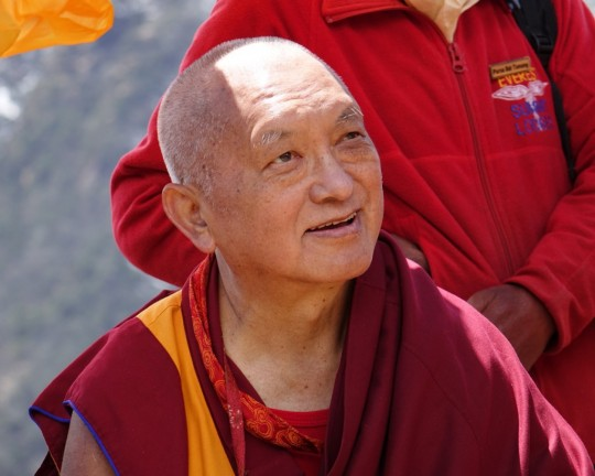 Lama Zopa Rinpoche during visit to Lawudo Retreat Centre, Nepal, April 2015. Photo by Ven. Roger Kunsang.