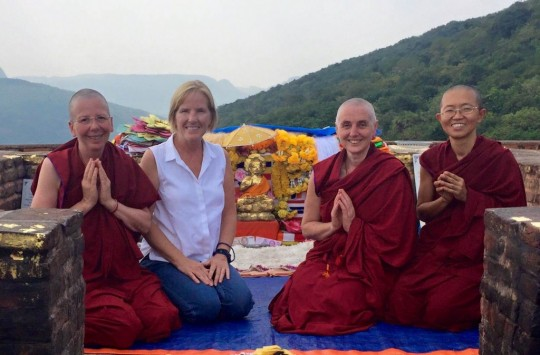Ven. Katy Cole, Maura Harvey, Ven. Sarah Thresher, and Ven. Dekyong after reciting the Sutra of Golden Light at Vulture's Peak, Rajgir, India, October 2015. Photo courtesy of Ven. Sarah Thresher.