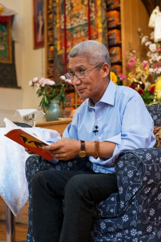 Thuben Jinpa visits London to discuss his book 'A Fearless Heart,' London, UK, June 2015. Photo courtesy of Jamyang Buddhist Centre.