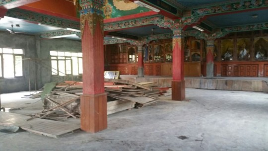 The Kopan Nunnery gompa is now being renovated thanks to grants received by many generous donors and the Nepal Earthquake Support Fund.