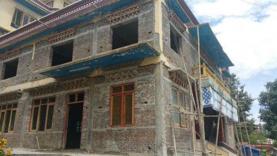 Structural damage to Kopan Nunnery was sustained but renovation and rebuilding has now begun.